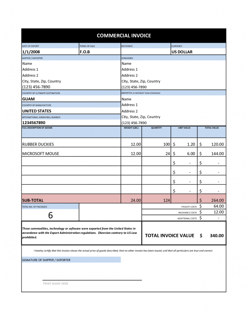 printable commercial invoice template