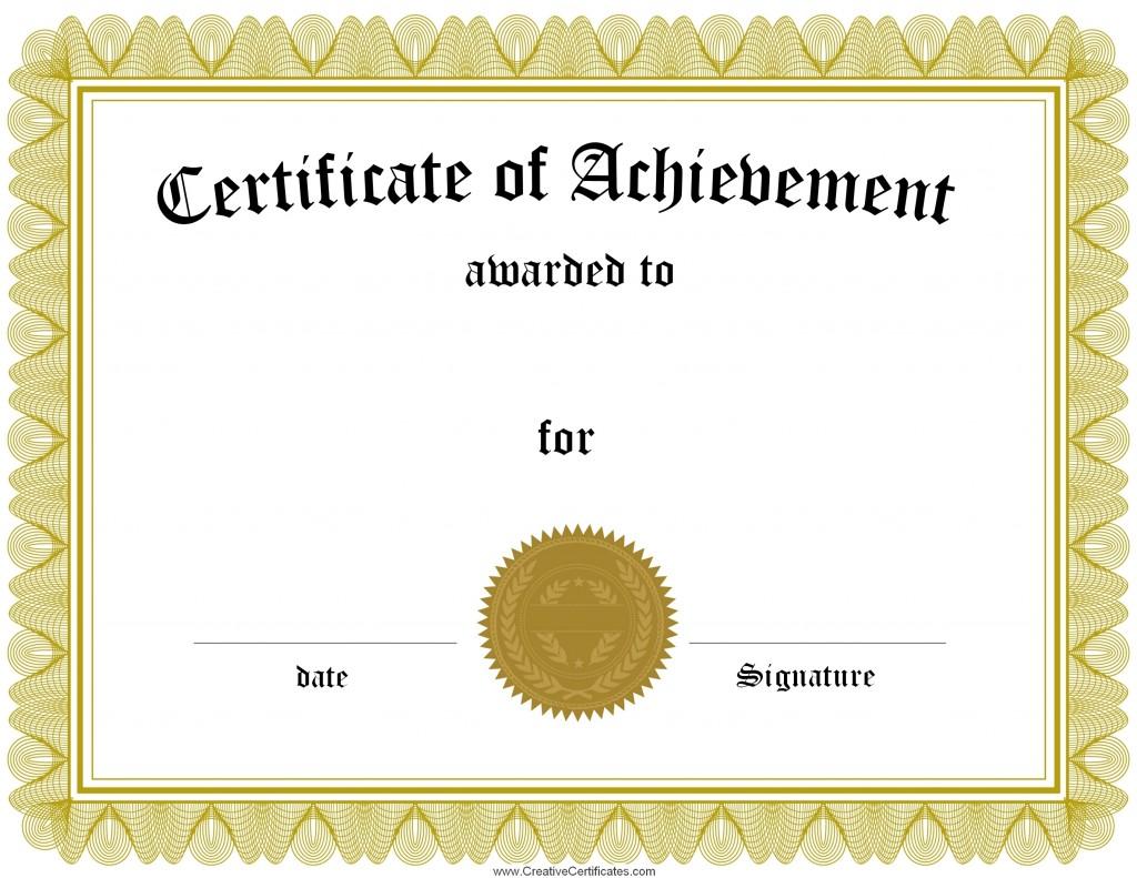 Free Certificate Templates -achievement-template