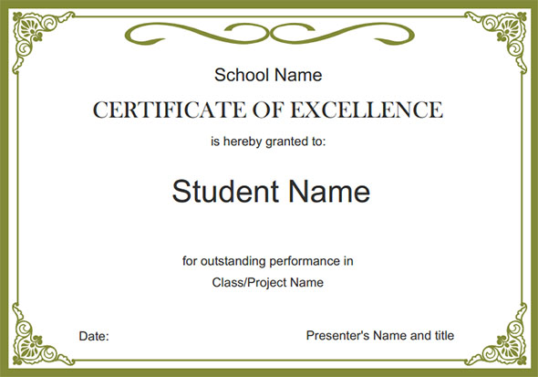Student Certificate Templates For Word   Funny Gift