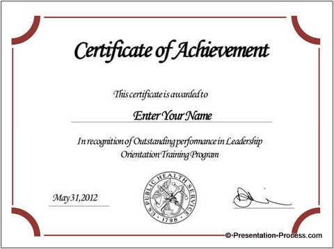 Free Certificate Templates -powerpoint