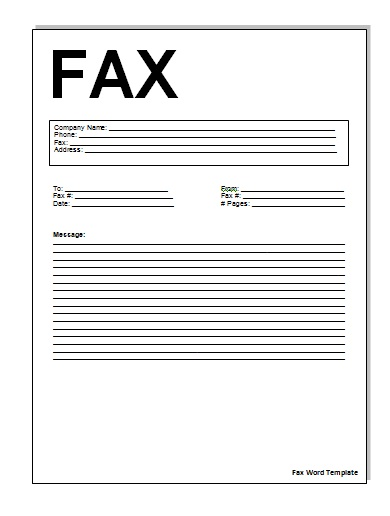 Sample simple fax cover pages samples and templates for Microsoft fax templates free download