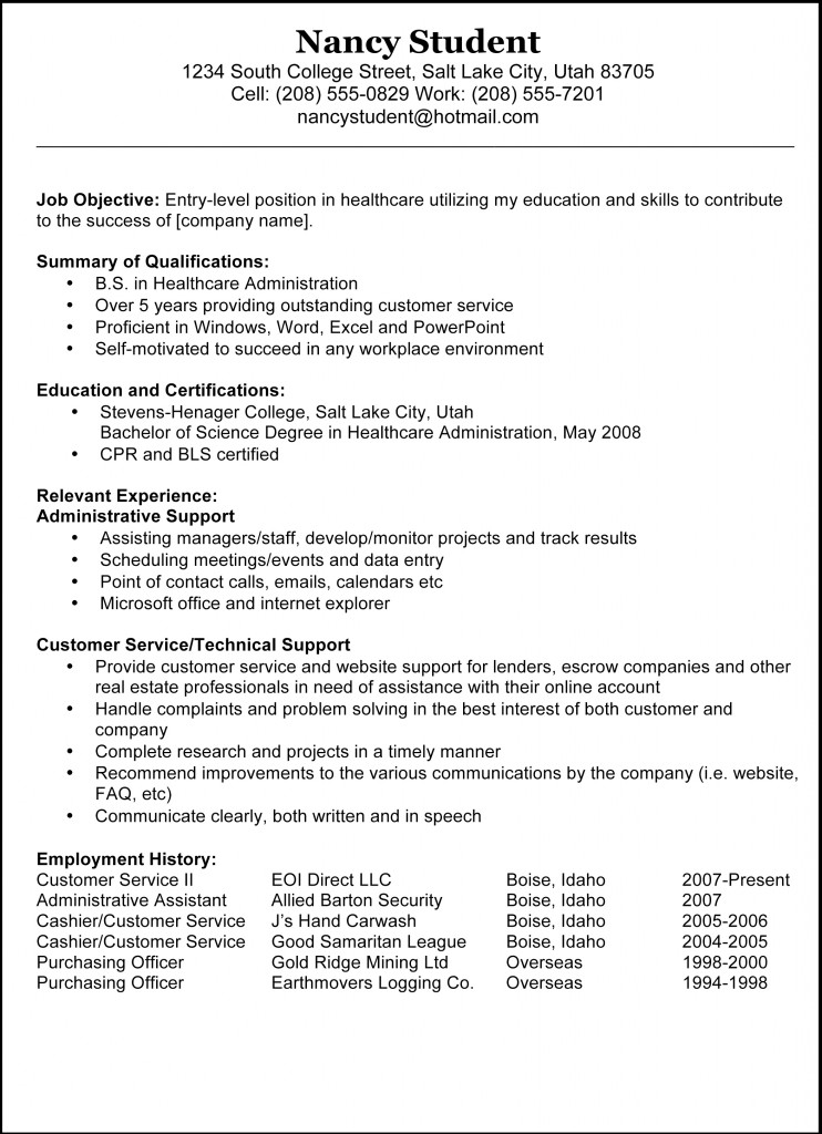 updated sample resume example admin assistant resume example - Sample Of Resume Format