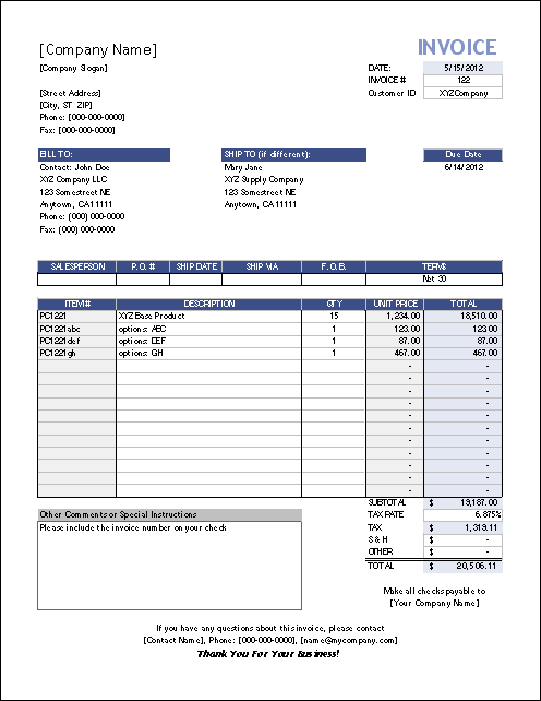 xlsx-invoice template sample business-printable, Invoice examples