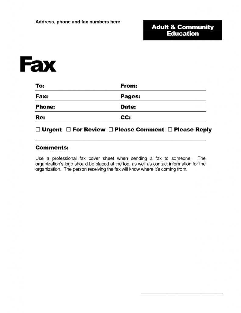 Fax Cover Sheet Template Word Samples Printable