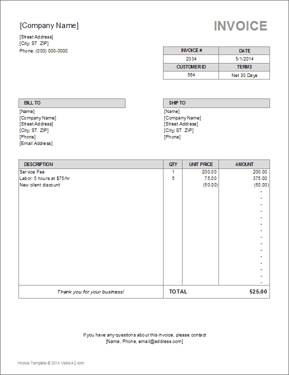 pdf formatinvoice template sample business-printable