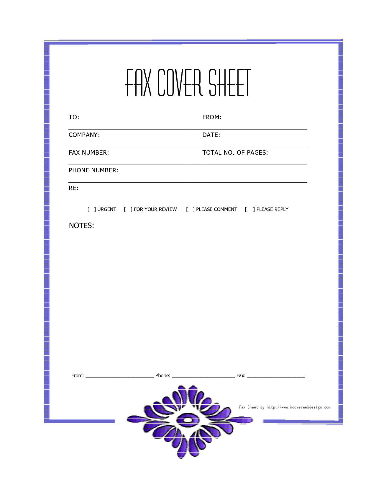purple sample simple fax cover page templates