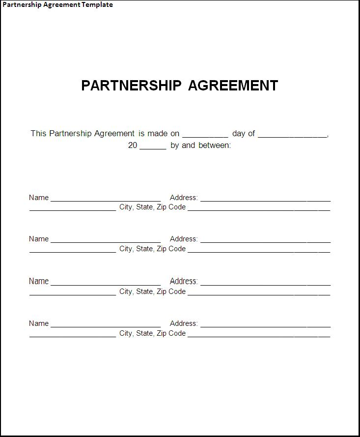 Doc400518 Sample Partnership Agreement Form Partnership – Agreement Template Free