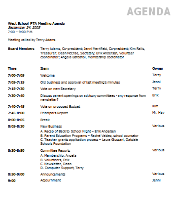 Ms Word Agenda Template Leoncapers