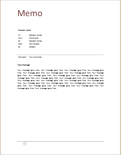 memo template samples and templates
