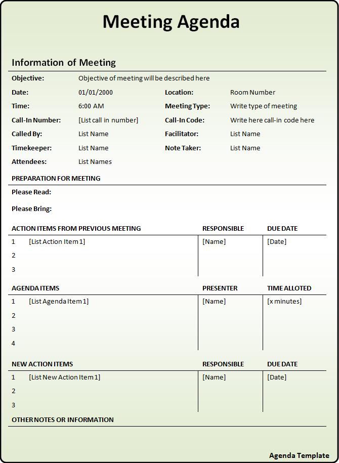 meeting agenda examples doc