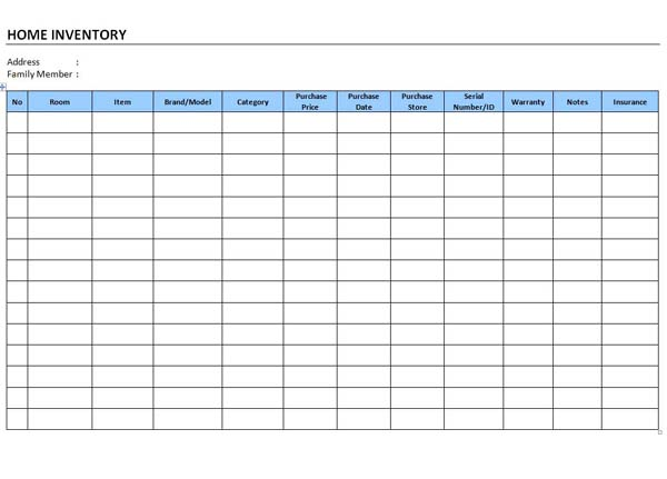 Inventory Template – Free Inventory Templates