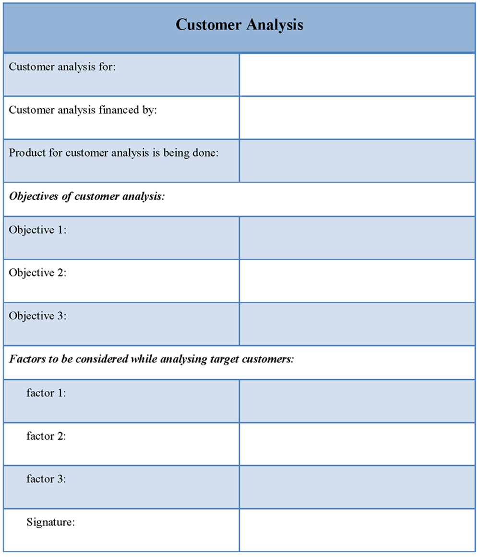Printable Sample Customer Analysis Template