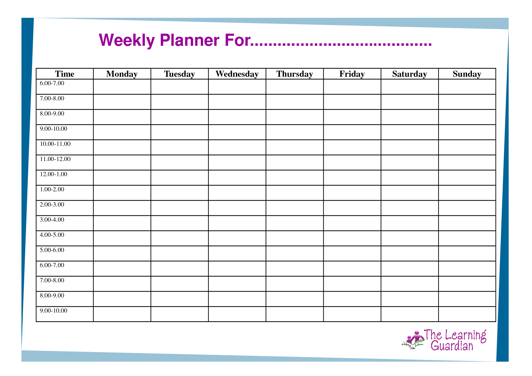 weeklyplannertemplate – Time Planner Template