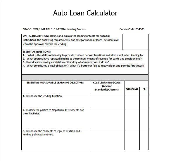 Auto Loan Calculator Excel Template Download Loan
