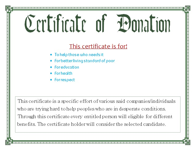 donation certificate template charity voucher templates samples and templates