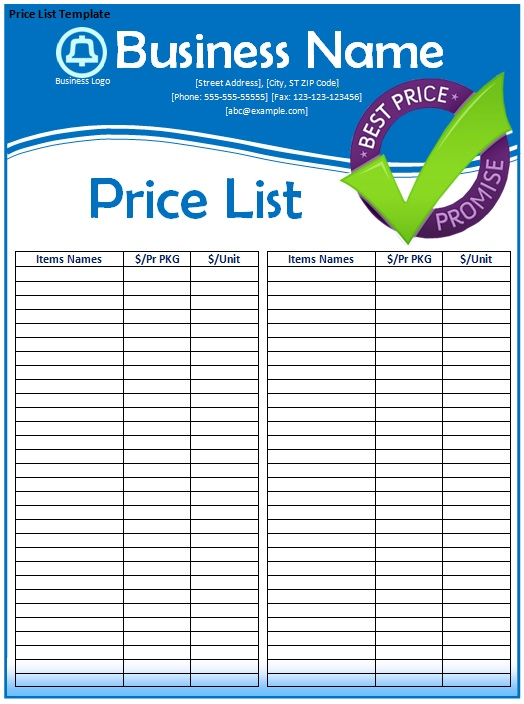 listtemplateimagetemplatesamplepdf – Template for Price List
