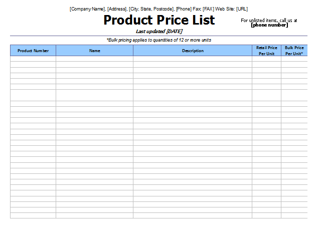 Marvelous Product Price List Templates  Price Sheet Template