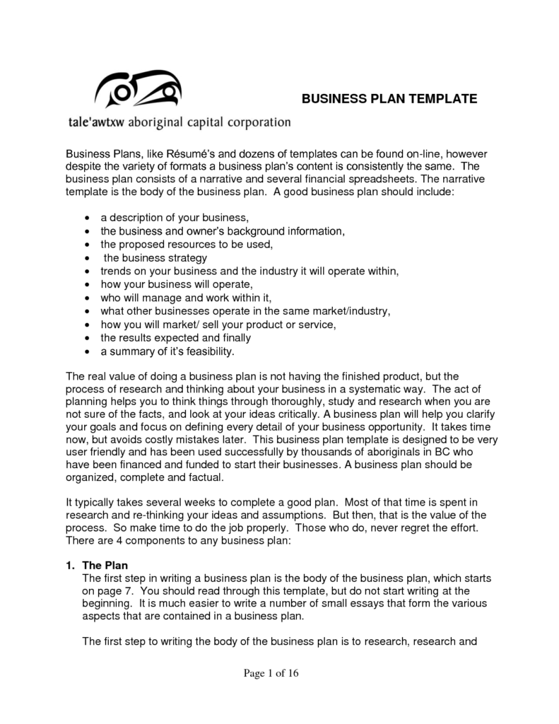 Free Example Of Business Plan Sample Business Plans