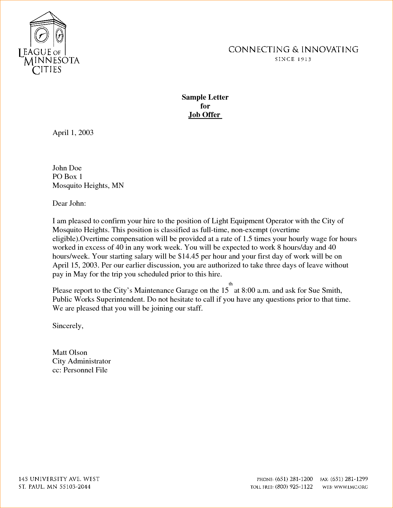 Job Offer Letter Letter Sample Template Pdf