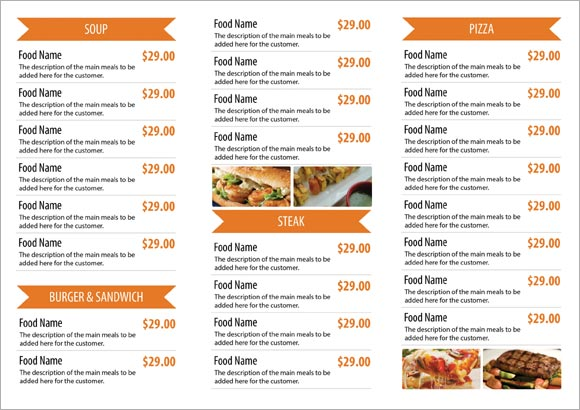Free restaurant menu templates samples and templates for Cafe menu design template free download