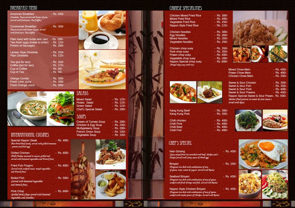 Free Restaurant Menu Templates Samples And Templates