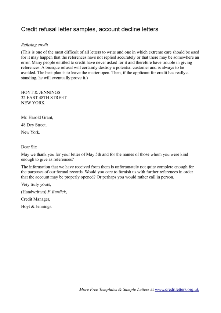 Refusal letter templates samples and templates for Loan denial letter template