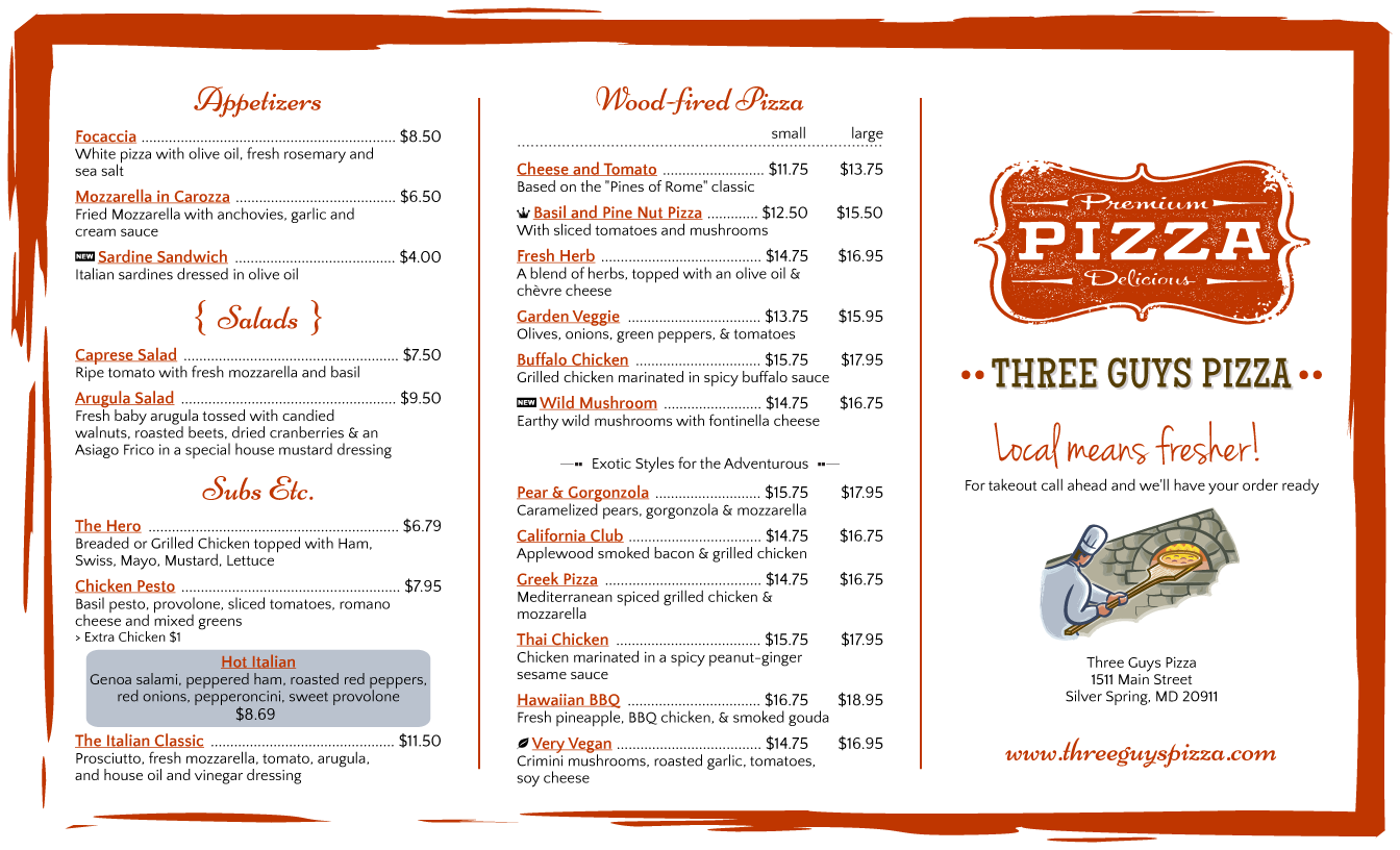 restaurant menu template free - pizza restaurant menu template