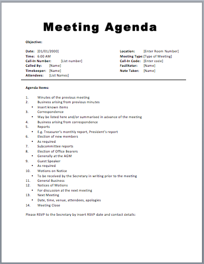 Meeting Agenda Formatted Template | Samples and Templates