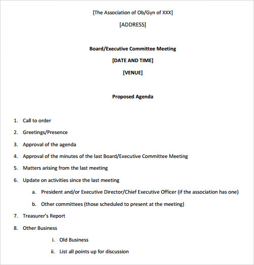 BoardMeetingAgendaTemplatePdf