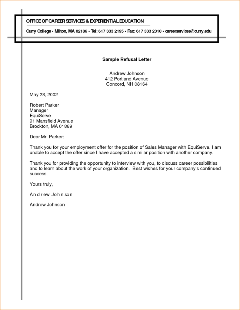 Refusal Letter Templates – Rejection Letter Sample