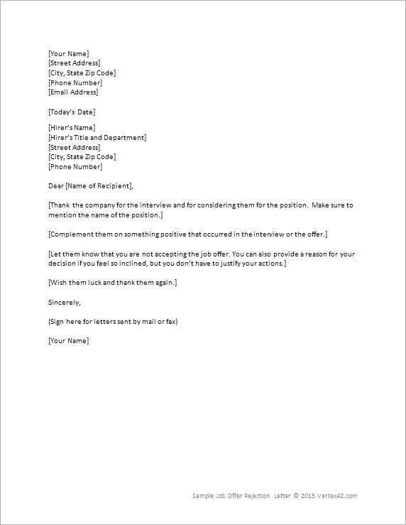 rejection letter letter sample template pdf