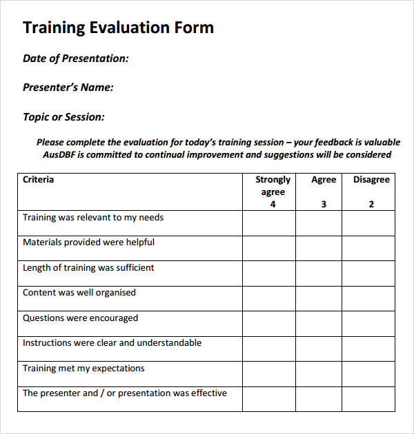 Printable Evaluation Form Template | Samples And Templates