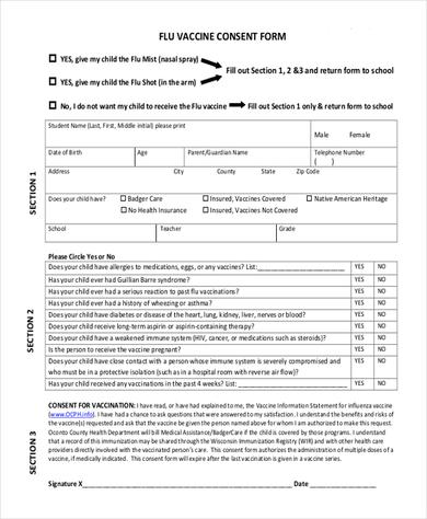 Letters of consent sample templates samples and templates for Vaccination consent form template