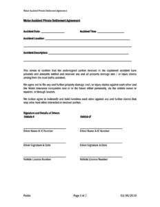 Car Accident Private Settlement Agreement Form Templates Doc