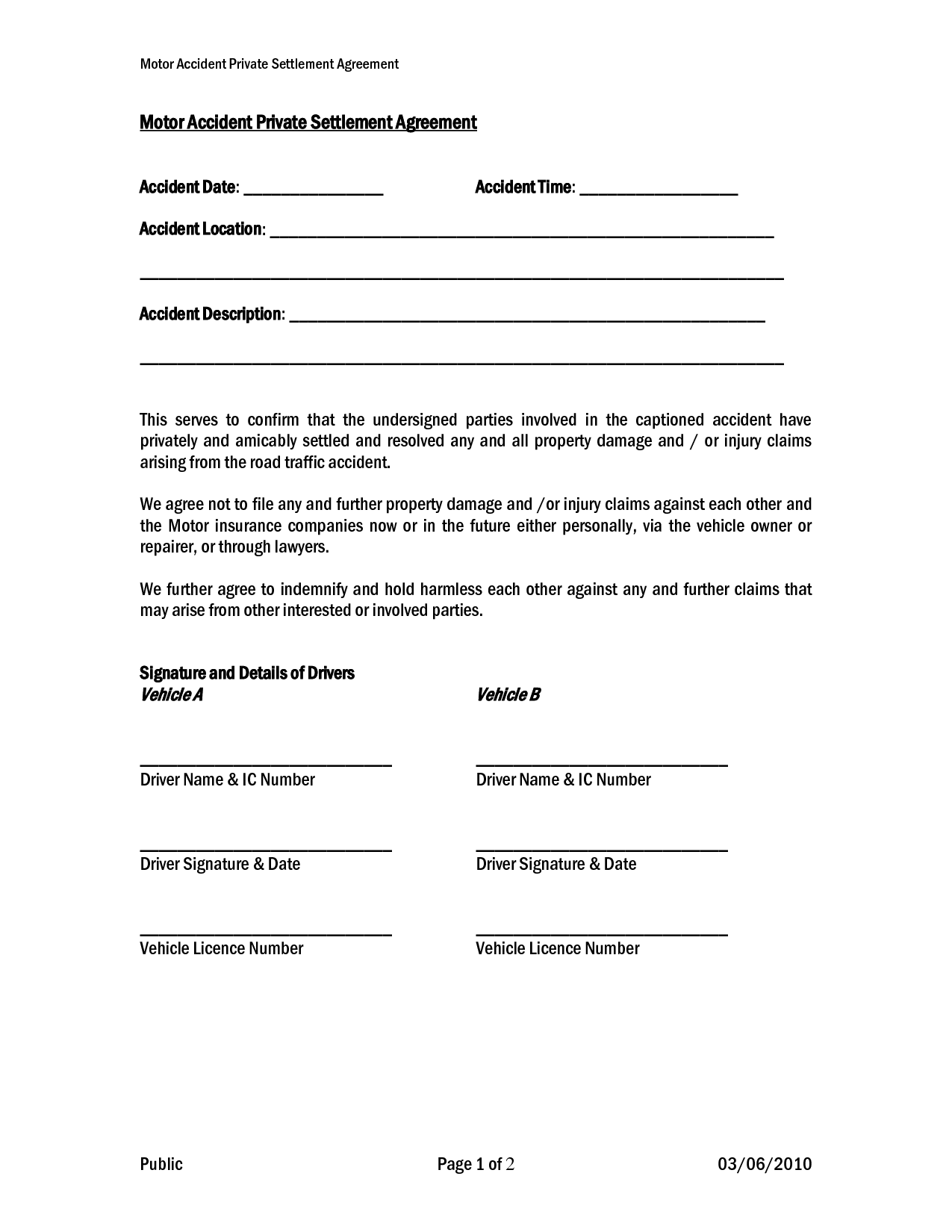 car accident private settlement agreement form templates doc printable car insurance