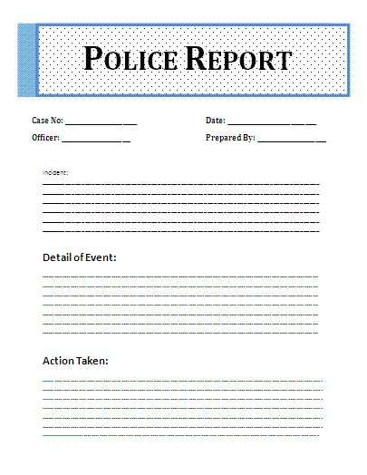 Sample Homicide Police Report Sample Police Report Template