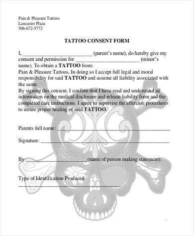 Child consent templates samples and templates for Tattoo release form template