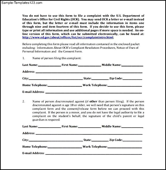 Sample Harassment Complaint Form