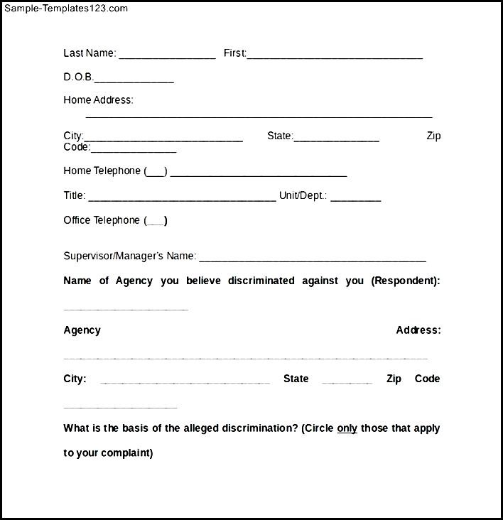 Complaint Form Of Eeoc