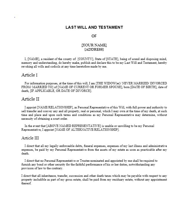 Last will and testament samples and templates for Template for wills