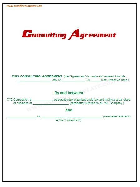 Consulting Agreement In Pdf. Consultation Contract Template Free