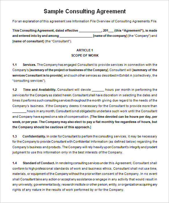 standard consulting agreement template - 25 consulting agreement samples samples and templates