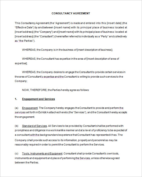 25 consulting agreement samples samples and templates for Consulting contracts templates