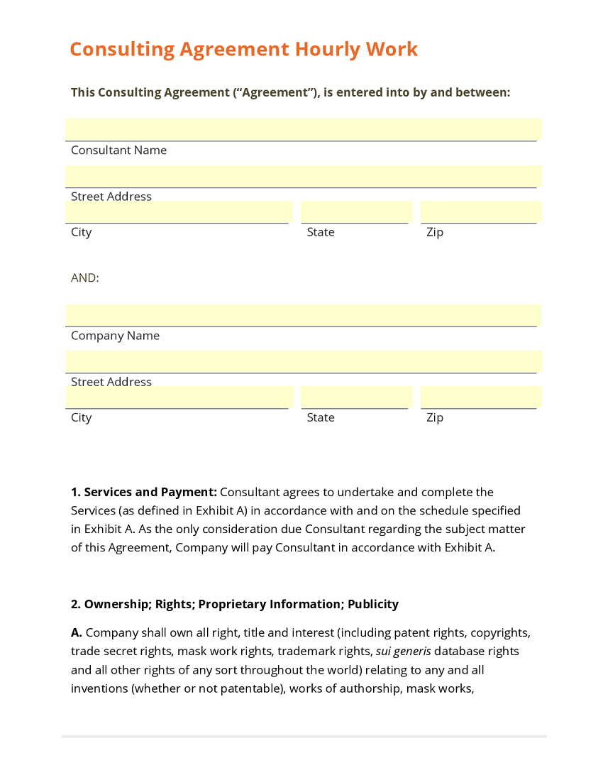 Formatted consulting contract template sample for Consultant contract template free download