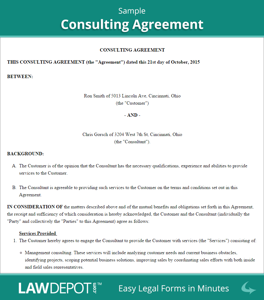 Pdf Consulting Contract Template Sample