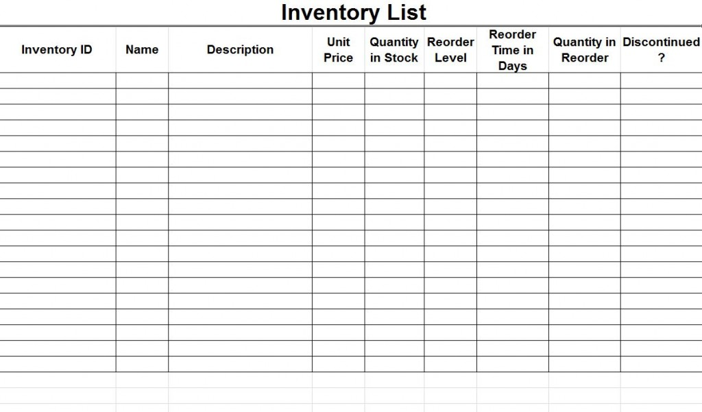 Inventory List Sample