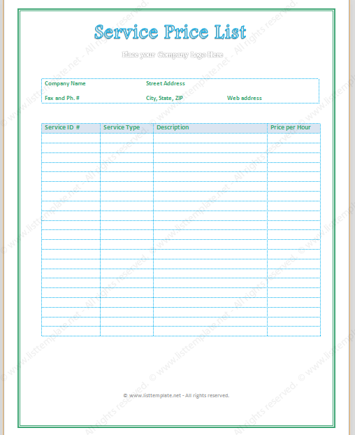 Pdf general business price list template flashek Image collections