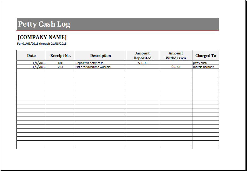petty cash spreadsheet