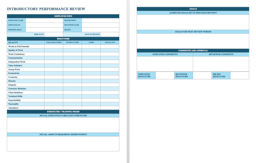 Employee Performance Review Template  Samples And Templates