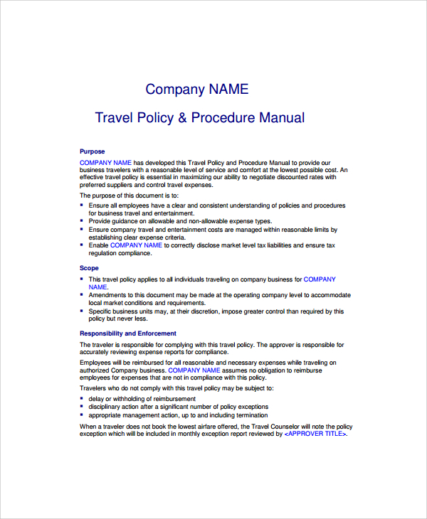 Travel Policy And Procedures Forms  Samples And Templates